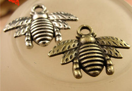 Wholesale Bee Coin - Charm Pendants Bee Bronze antique silver 21x17mm for bracelet necklace fashion