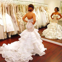 Wholesale Ruffle Wedding Dresses Sleeveless - Sexy Sweetheart Mermaid Wedding Dresses Sleeveless Organza Flouncing Ruffles Lace Wedding Gowns Tiered Skirts Chapel Train Bridal Gowns