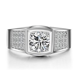 Wholesale Lab Bar - ZNM Luxury Men Ring 1.25 Ct Lab-Created SONA Synthetic Simulated Diamond Ring for Men 925 Sterling Silver Ring Platinum Plated Jewelry
