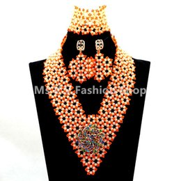Wholesale Purple Glass Seed Beads - 2016 high quality Wedding Coral Glass Seed Beads Costume African Jewelry Set Cream Crystal Beaded Statement Necklace Set Free Shipping
