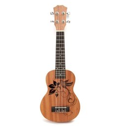 "Wholesale Guitar Kid - 21"" Mini Sapele Ukulele Ukelele Rosewood Fingerboard Guitar Mahogany Neck Delicate Tuning Peg Nylon String Matte Kids Gift"