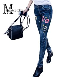 Wholesale Denim Jeans Pant Women - Wholesale- Women Denim Jeans Blue Summer 2017 New Arrivals Print Flower Pencil Pants Vintage Fashion Painted Stretch Skinny Jeans Woman