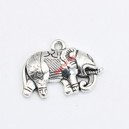 Wholesale Handmade Elephant Charm Bracelet - Antique Silver Plated Elephant Charms Pendant Bracelet Necklace Jewelry Making DIY Handmade 21x29mm