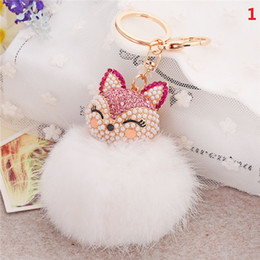 Wholesale Leather For Keychains - 20Pcs 7 Colors lovely Genuine Leather Rabbit Fur Ball Plush Key Chain for Car Key Rings Bag Pendant Car Keychains F557