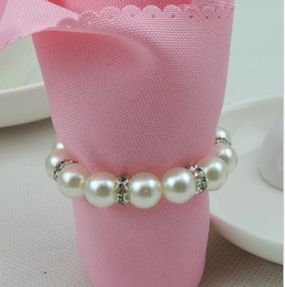 Wholesale Napkin Rings Pearls - Imitation Pearl Napkin Rings Wedding Napkin Buckle For Wedding Reception Party Table Decorations Supplies Napkin Rings KKA2414
