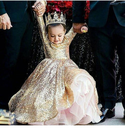 Wholesale Purple Glue - 2017 Ball Gown Girls Pageant Dresses with Crew Neckline Long sleeve Floor Length Bling Gold Glitter Glued Lace Kids Birthday Party Dresses