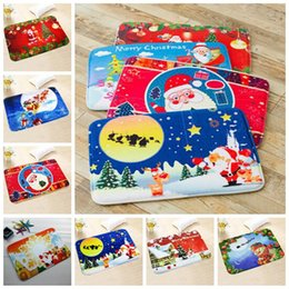 Wholesale Pvc Bath Mats - 7 Styles New 40*60cm Christmas Floor Mat HD Printed Non-Slip Kitchen Bath Mat Absorbent Waterproof Home Decor CCA7609 200pcs