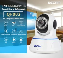 Wholesale Home Motion Security Camera Wireless - ESCAM QF002 HD 720P Home Security Surveillance Camera P2P Pan Tilt IR Cut Two Way Audio Wifi IP Camera