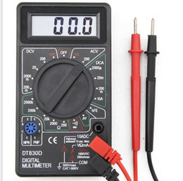 máquina de corte x6 Rebajas Probador del medidor de amperaje de voltaje AC / DC 10pcs / lot Diámetro del multímetro de voltímetro digital BUZZER DT830D con sonda de prueba