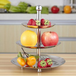 Wholesale Dried Fruit Tea - Stainless Steel 3 Layer Fruit Plate Cake Stand, Afternoon Tea Dessert Dish, Dried Fruit Plate Candy Plates Display Plate