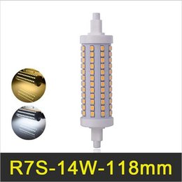 Wholesale R7s 14w 118mm - R7S LED Lamp 118mm 14W J118 SMD2835 Lampada LED R7S Bulb Dimmable Bombillas LED Light 110V 220V 230V Replace Halogen Floodlight