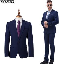 Wholesale High Quality Tuxedos - Wholesale- 2017 High Quality Men's Black Suits Business Blazer Casual Suit Set Groom Wedding Dress Men Suit Groom Tuxedos Plus Size 4XL 5XL
