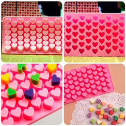 Wholesale Silicone Heart Shaped Chocolate Mould - Cute 55 Mini Heart Shape Silicone Ice Cube Fondant Chocolate Tray Mold Mould