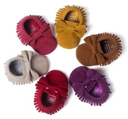Wholesale Picking Shoe - Newest Style For Choose freshly-picked Baby Soft PU Leather Tassel bow Moccasins walker shoes baby Toddler Solid Colour Tassel Shoes