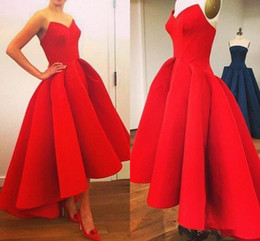 Wholesale Halter Sweetheart Formal Cocktail Dress - 2016 Red Vintage Short Prom Dresses Sweetheart High Low Party Dress Club Cocktail Gown Evening Formal Wear Bridesmaid Real Picture 2015