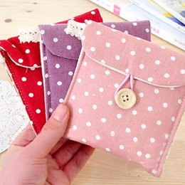 Wholesale Napkins Fabrics - 200pcs Polka Dot Organizer Storage Female Hygiene Sanitary Napkins Package Small Cotton Storage Bag Purse Case ZA0755