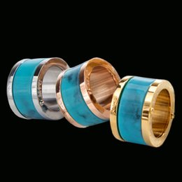 Wholesale Green Clusters - Fashion Brand Turquoise Band Ring Punk Silver Rose Gold Stainless Steel Green Amber Spike Rings Jewelry For Men Women