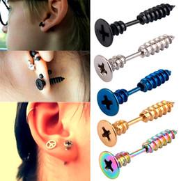 Wholesale Top Ear Black Earrings - 2016 Fashion Men Women Unisex Stainless Steel Whole Screw Stud Earring Punk Top Quality Ear Tragus fake ear plugs