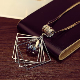 Wholesale Swarovski Drop Pendant Wholesale - New fashion swarovski Women Pendant Necklace water drop Pendant Crystal Sweater chain Necklace Jewelry For Wholesale Free Shipping