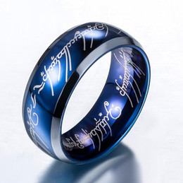 Wholesale mexican stocks - 2017 bright blue Fashion Jewelry Dome Tungsten Carbide Ring Lord Prayer silver edges 8mm wide for men have big sizes in stock Christmas Gift