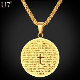 Wholesale Men Cross Pendant Necklace - New New Cross Necklace Women   Men Scripture Christian Jewelry Gift 18K Real Gold Round Coin Pendants Stainless Jewelry P809