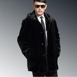 Wholesale Mink Overcoat - Fall-2016 New Hooded Casual Elegant Business Formal Men's Mink Overcoat Elegant Long Luxury Plus Size 4XL Faux Fur Coat Outwear V544