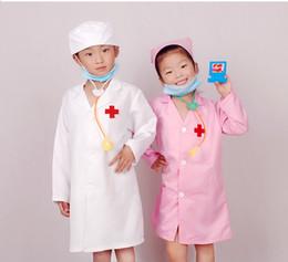 Abiti uniformi infermiere online-Wholesale- Spedizione gratuita, Infermiera Uniforme per bambini prestazioni costume da infermiera chidren abbigliamento speciale set con cappuccio medico costume