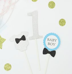 Wholesale Boy Shower Favors - Baby Boy First Birthday Glitter Cake Decoration Baby Shower Wedding Birthday Party Favors Paper Cupcake Toppers 10 set Free Shipping
