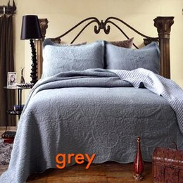 Wholesale Water Bedspread - cotton water wash quilting quilts bedcover bedspread luxury white embroidery grey solid color quilting kakhi quilt 3pcs bed set hometextiles