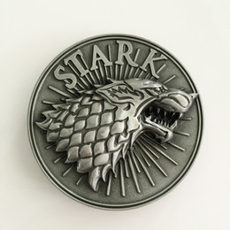 Wholesale Hot Fashion Games - Retail Hot Game Of Thrones Stark Belt Buckle With Round 3D Silver Wolf Head Metal Cowboy Belt Head Jewelry Fit 4cm Wideth Belt