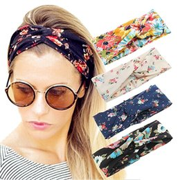 Wholesale Hair Bandage - Cotton Wide Turban Women Headbands Boho Style Elastic Cute Bow Hairband Turban Knotted Rabbit Hair Band Flower Bandage Headwear