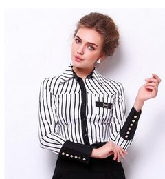 Wholesale Womens Xxl Shirt - 2016 New Ladies Womens Blouses Stripe Long Sleeve Ladies Business Wear Occupation Shirts Was Thin Tops Ropa Mujer S-XXL