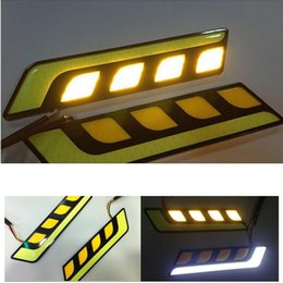 Wholesale Led Bars Cars - The New Car cob led drl turn light all in one car styling 2ps led bar daylight led car waterproof 12v universal daytime running lights bulb