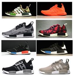 Wholesale Cheap Royal Blue Shoes - 2017 NMD Runner Shoes NND R1 Monochrome Mesh Primeknit Discount Cheap Women Men Running Shoes Sneakers Sports Shoes 20+COLOR eur36-45