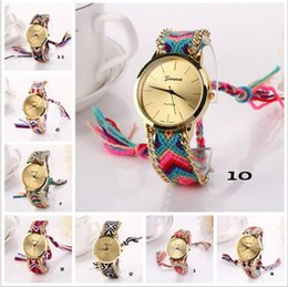 Wholesale Round Friendship Bracelets - Luxury Geneva Ladies Women Weave Watch Handmade Braided Friendship Bracelet Candy Color Handcrafted Quarzt Wristwatch Gift Watches