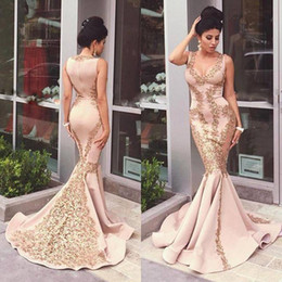 Wholesale Sex Long Gown - Arabic Mermaid Evening Dresses With Gold Lace Applique 2016 Sex V Neck Back Zip Evening Gown Sweep Train Long Formal Dresses for Women