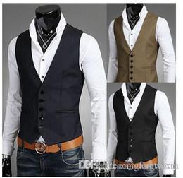 Wholesale Korean Vest Coat - Men Vests Outerwear Casual Man Casual Suits Slim Fit Stylish Short Coats Suit Blazer Jackets Coats Korean wedding Mens V-neck vest