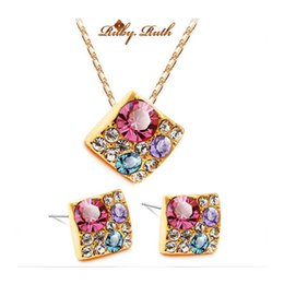Wholesale Middle East Bridal Jewellery - Ruby.Ruth african jewelry set 18k gold jewellery sets austrian crystal fine nigeria necklace bridal wedding fashion women colar 2015