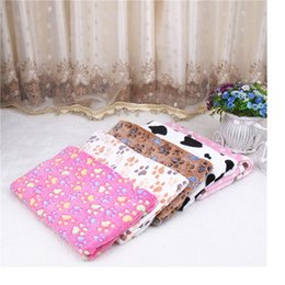 Wholesale Large Dog Beds Wholesale - New 3 Size Cute Floral Pet Warm Paw Print Dog Puppy Fleece Soft Blanket Beds Mat Free Shipping WA1265
