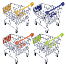 Wholesale Hand Phone Holders - 30pcs lot Hot Fashion Mini Supermarket Hand Trolleys Mini Shopping Cart Desktop Decoration Storage Phone Holder Baby Toy New