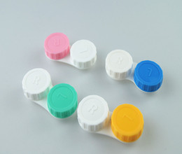 Wholesale Colorful Contact Cases - 100PCS Contact Lens Box Solid and Transparent Colorful Cases Lovely Colorful Candy Double Box Mix CLB012 59