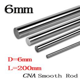 Wholesale Linear Motion Guides - Wholesale- 2pcs lot linear shaft 6mm 200mm rod shaft WCS 6mm linear shaft L200mm chrome plated linear motion guide rail round rod cnc parts