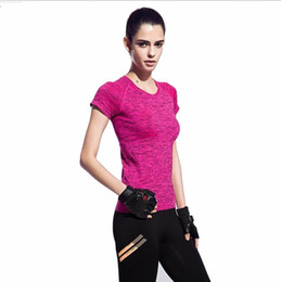 Wholesale Womens Black Nylon Shorts - Wholesale-summer o-neck quick dry women fitness workout gym yoga sport top shirts Aerobics ropa deportiva mujer gym womens running clothes