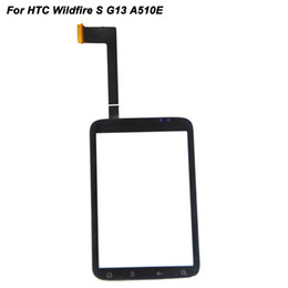Wholesale Digitizer Wildfire - Wholesale-Black Touch Glass For HTC Wildfire S A510E G13 Touch Screen Digitizer Replacement Phone LCD External Panel Screen With Logo