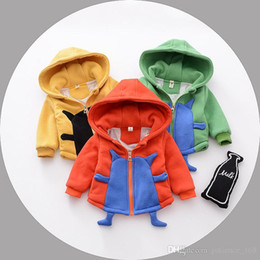 Wholesale Cute Korean Little Children - 3 color New autumn winter clothes Korean style Cute little monster 100% cotton Thickened children cardigan coat free shipping