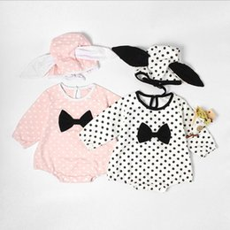Wholesale Wave Caps Wholesale - INS hot selling New fall infant romper baby climbing clothes dot print romper high quality cotton autumn romper+Wave point rabbit ear cap