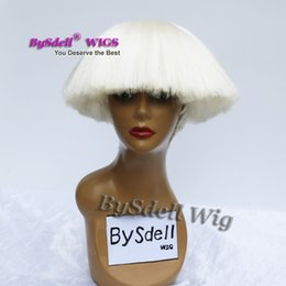 Wholesale Male Wigs White - Hot sale celebrity Lady Gaga Drag Queen Hairstyle Wig Synthetic Heat resistant beige white color hair Wig Female  Male cosplay party wigs
