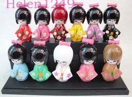 Wholesale Oriental Dolls - New 11pcs 9cm KOKESHI ORIENTAL HANDMADE JAPANESE WOODEN DOLLS handsel Gift