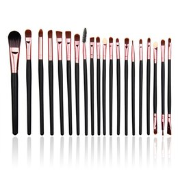 Wholesale Hot Long Hair - HOT 20pcs Brown Eyeshadow brush Makeup Brush Set 20pcs black eye shadow brush Long bar beauty Makeup Tool Beauty make-up series