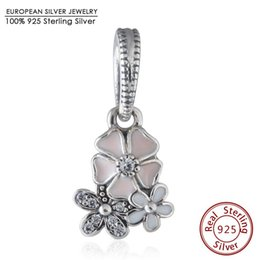 Wholesale Slide Enamel - Spring Collection Poetic Bloom with Enamel charm 925-Sterling-Silver dangle charms fit beads bracelet necklace pendant DIY